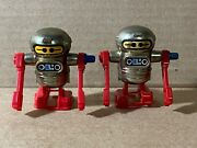 Vintage 1979 Tomy Lot Of 2 Wind Up Robot Droids Toy Silver Red 2.5 Ex Shape