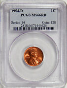 1954-d 1c Pcgs Ms 66 Red Old Holder Pq Gem Lincoln Cent