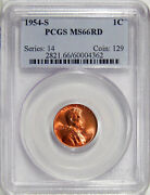 1954-s 1c Pcgs Ms 66 Red Old Holder Pq Gem Lincoln Cent