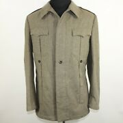 German Army Olive Tunic Wool Military Jacket Flag Nato Officers Coat Size 38