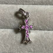 Chrome Hearts 18k White Gold Pink Sapphire Cross Motif Necklace Top Auth I18650
