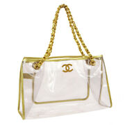 Cc Logos Chain Hand Tote Bag Gold Vinyl Leather Authentic 05346