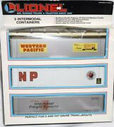 ✅lionel 6-12907 3 Intermodal Containers For Double Maxi Stack And Ttux Spine Cars