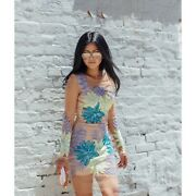 For Love And Lemons X Nasty Gal Womenandrsquos Sz L Tropicana Dress Mesh Embroidered Rare