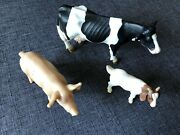 Schleich Farm Animals Lot Of 3 Early 2000s Animals Pig Cow And Goat
