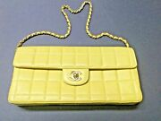 Vintage Lambskin East West Chocolate Bar Flap Yellow Nice Condition