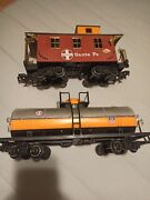Andnbspnew Bright Railroading Red Caboose And039santa Feand039 Train And Oil Tank Train