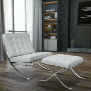 White Barcelon-a Lounge Chair And Ottoman Footstool Sofa Real Leather Club Chair