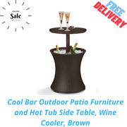 Cool Bar Outdoor Patio Furniture And Hot Tub Side Table, Wine Cooler, Brown