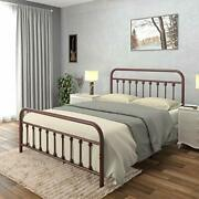 Ambee21 Vintage Queen Metal Bed Frame With Headboard And Footboard Platform/wrou