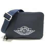 Auth Dior/christian Dior Zipped Compact Leather Shoulder Bag