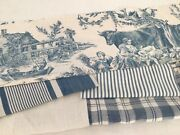 Antique Vintage French Fabrics Coordinated Bundle For Projects Toile Ticking