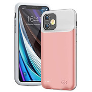 Battery Case For Iphone 12 Mini, 6000mah Ultra-slim Charger Pink