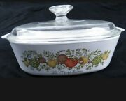 Corning Spice Of Life 2qt Square Casserole Baking Dish A-2-b With Pyrex Lid