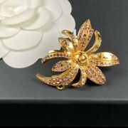 Pin Brooch Rhinestone Coco Mark Vintage 100 Authentic From Japan K11744