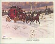 Vintage Christmas Red Stage Coach Horses Cowboys Snow Victorian Days Art Card