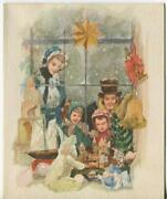 Vintage Christmas Glitter Victorian Toy Store Window Castle Doll And Santa Card