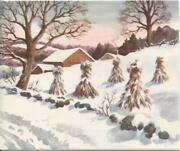 Vintage Christmas Rural Country Houses Farm Land Haystacks Snow Greeting Card