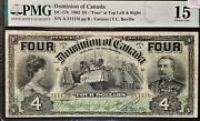 Dominion Of Canada 1902 4 Four Dollar, Boville Sig, Graded Pmg F15
