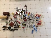 Huge 104 Piece Toy Cowboys, Indians, Covered Wagon,fences, Etc.