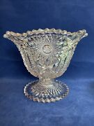 Early American Pressed Glass Compote Pedestal Footed Purpled Clear 7andrdquo Bowl