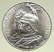 1901a Germany German States Prussia Wilhelm Ii Antique Silver 5 Mark Coin I94994