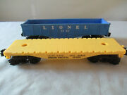Lionel Union Pacific 9020 Yellow Flat Car And 6042 Blue Gondola