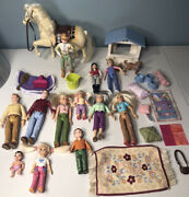Vintage Lot Of Fisher Price Loving Family Dollhouse Figures People Horse Dog