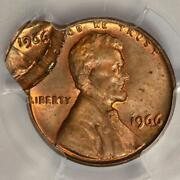 1966 Pcgs Ms64rd Double Struck Double Dated Lincoln Cent Mint Error Two Dates
