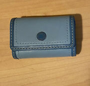 Coach Leather Travel Contact Lens Case W/ Mirror In Blue