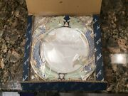 """Vintage Fitz And Floyd Green Dolphin Street Lot Of 4 Salad Plates 7.5"""" New In Box"""