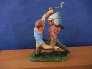 Vintage Elastolin Cowboy And Indian Fighting - Made In Germany