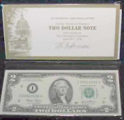 2 Consec. 2003 2 Dollar Bills, Federal Reserve Note, Money Gift Or Collection