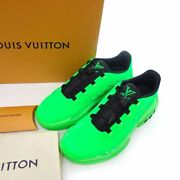 Pre-owned Authentic Louis Vuitton Menand039s Sneakers 10 Green 30i21