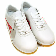 Pre-owned Authentic Louis Vuitton Men's Sneakers 5 1/2 White Red Leather Rubber