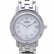 Auth Hermes Clipper Nacre Cl4.210.212 White Shell Buckle Women's Watch/ 37950