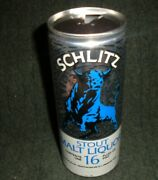 Rare Schlitz Stout Malt Liquor Beer 1970and039s Vintage 16 Ounce Ring Pull Beer Can