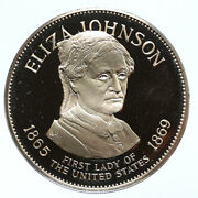 1972 Fm Us Usa White House First Lady Eliza Johnson Proof Silver Medal I95810