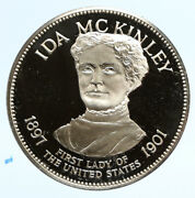 1972 Fm Us Usa White House First Lady Ida Mckinley Old Proof Silver Medal I95836