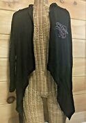 Harley Davidson Fly Away Open Front Cardigan Size Xs Black Hooded Sparkle