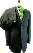Canali Mens Suit 42l Navy Blue Striped Wool 2 Button Made In Italy Flat Front