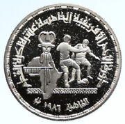 1986 Egypt African Soccer Championship Bu Silver 5 Pounds Egyptian Coin I95710