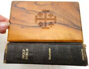 1953 Vintage Olive Wood Cover Bible From Jerusalem Church Of Holy Sepulchre