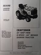 Sears Craftsman 18 Hp 44 6sp Lawn Garden Tractor Owner And Parts Manual 917.255917