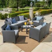 Noble House Patio Seating Set 6-seater Plastic-frame Cushions Included 5-piece