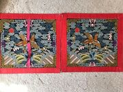 Rare Pair Of Never Used Chinese Embroidery Rank Badges In Workshop Paper Folio