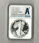 2021 S Proof Silver American Eagle- Type 2 Ngc Pr 70 Ultra Came Advanced Release