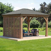 12 Ft Privacy Wall Only For Yardistry Gazebo Cedar Sun Shelter Brown Stain