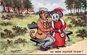 Louis Wain And039no More Sulphur Todayand039 Cats On Bench Tuck 8615 Unused Postcard E62