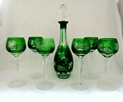 Hutchenreuther Germany 6 Green Crystal Cut To Clear Wine Goblets And Decanter